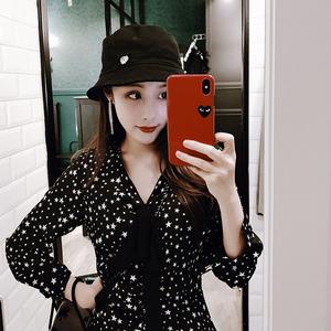 新款裙子法式復古黑色顯瘦小雛菊星星印花碎花雪紡連衣裙長裙女夏