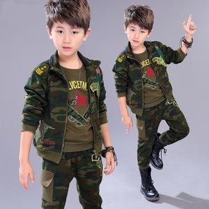 童装男童春装儿童春秋运动套装男孩军装衣服宝宝春季迷彩服三件套