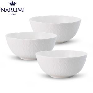 日本NARUMI/鳴海Silky White 碗(3只裝)純白面碗骨瓷14cm/17cm