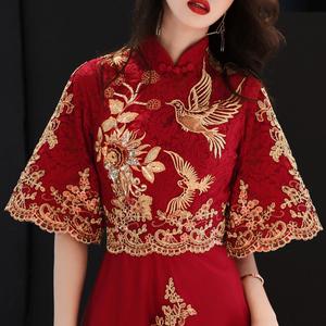 敬酒服新娘秋冬季中长袖红色旗袍结婚答谢宴晚礼服裙女显瘦中长款