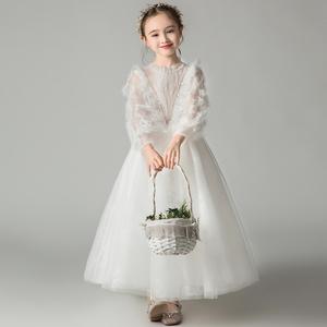 兒童禮服公主裙花童白色蓬蓬紗長袖女童生日高貴走秀鋼琴演出服冬