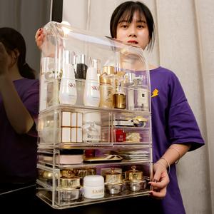 網紅防塵化妝品收納盒桌面梳妝臺護膚品亞克力化妝盒置物架ins風