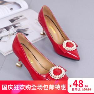 细跟女鞋小跟女鞋时尚女鞋尖头女鞋女鞋高跟女单鞋高跟单跟女⑴。