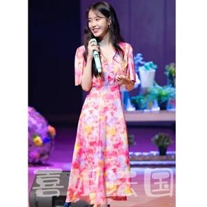 喜姐法国MAJE iu李智恩同款 印花海军领收腰中长裙连衣裙