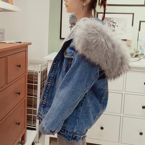 牛仔外套女冬厚韩版宽松连帽加绒大毛领加棉加厚中长款上衣棉服bf
