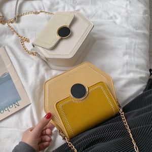 上新磨砂六邊形小包包2019夏季新款高級感鏈條單肩包斜挎小包女包