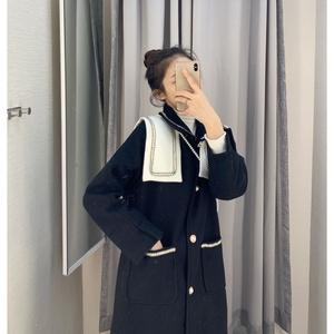 工装外套港风时尚复古海军领毛呢大衣女中长款学院风原宿港风女装