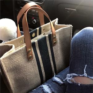 韩版女士手提公文包职业通勤条纹简约单肩大包包ins大容量帆布包