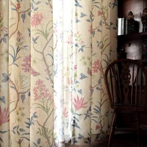 美式风格窗帘田园小美式乡村 棉麻亚麻简美客厅卧室飘窗成品 西荷
