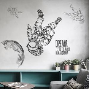 大型创意太空宇航员宿舍墙壁贴画客厅卧室装饰品个性学生墙面贴纸