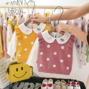 6八7九9個月嬰兒秋裝0-1周歲女寶寶2公主襯衣馬甲兩件套裝3洋氣潮