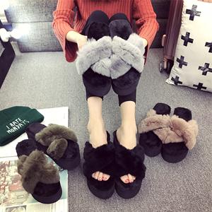 韓版松糕交叉毛毛拖鞋女外穿保暖兔毛坡跟秋冬季顯瘦高跟一字拖女