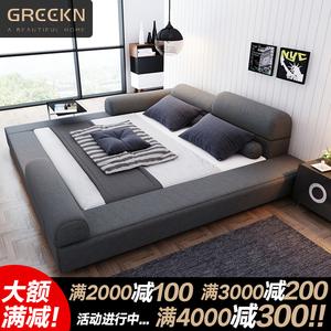 床現代簡約布藝雙人床2米2.2米2.4主臥大床加寬布床榻榻米1.8米