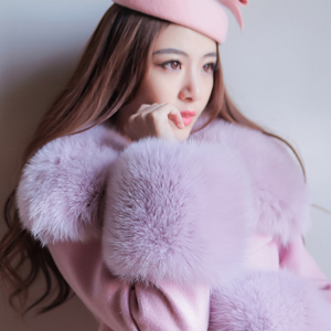 韩版秋冬季时尚粉紫色大狐狸毛领羊毛呢外套妮子大衣女中长款修身