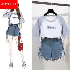 上衣配短裤少女夏装2019新款初中学生韩版小清新短袖T恤两件套装