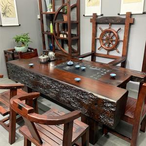 老船木茶桌椅组合客厅办公室?#30340;?#23478;具茶几新中式仿古功夫茶台特价