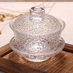 耐热透明水晶玻璃锤目纹盖碗茶备功夫茶具泡茶碗三才碗敬茶壶茶杯