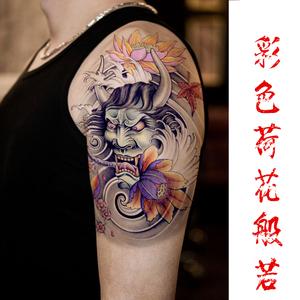 彩色般若佛头纹身贴 防水男女花臂纹身贴纸 手臂大图持久仿真刺青图片