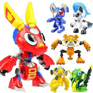 儿童益智玩具6-8岁男童 男孩子可爱恐龙钢甲小龙虾变形老虎机器人