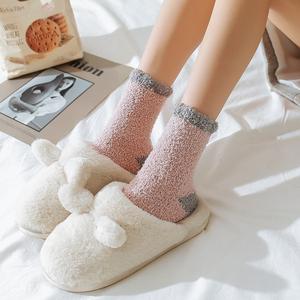 珊瑚绒睡眠袜子女中筒袜冬季保暖加厚居家毛巾袜地板袜睡觉袜长袜