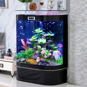 圆形鱼缸客厅小型造景玻璃水族箱中型底滤生态免换水落地家用玄关