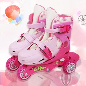 玄凌儿童轮滑女童玩具2-3-4-5-6 岁初学者公主粉直排轮男孩溜冰鞋