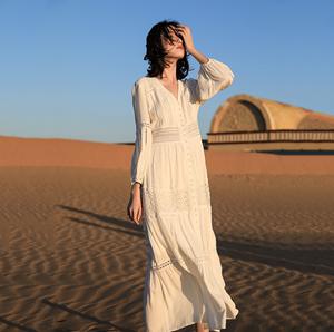 三亞沙灘裙2020新款白色顯瘦海邊度假云南麗江旅游拍照沙漠長裙仙