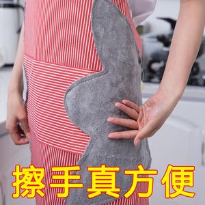 家用可擦手防水围裙女时尚可爱围腰 日式厨房大人做饭防油罩衣男