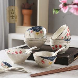 日式个性陶瓷碗 创意手绘米饭碗 家用吃饭碗可爱小甜品碗汤碗面碗