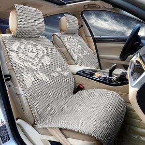 冰丝亚麻手编汽车坐垫夏季透气凉垫手工编织座垫四季通用车垫子