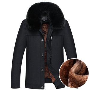 秋冬男士棉衣加絨加厚翻領保暖棉服中老年爸爸裝卡克祆子純色外套圖片