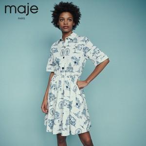 【少女时代同款】maje2019春夏新款女装 巴黎印花连衣裙E19RAPOMI