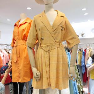 韩国2019夏新款法式复古显瘦西装领双排扣宽松休闲格子连体短裤女
