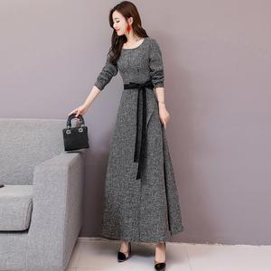 秋法式复古长袖连衣裙收腰显瘦气质收腰名媛修身长裙过脚踝a字裙
