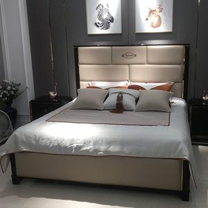 北欧轻奢真皮婚床高档时尚设计师样板间别墅1.8/2米意式双人大床