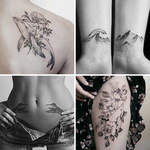 鲸鱼山水图腾燕子花小清新纹身贴防水男女持久仿逼真刺青欧美风图片