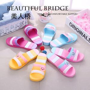 夏季美人桥拖鞋厚底一字鞋卡通家居室内防滑浴室洗澡女沙滩凉拖鞋