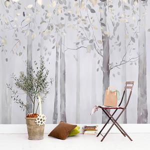 简约北欧客厅电视背景墙壁纸 定制手绘树林壁画 温馨卧室墙纸