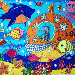 儿童画科幻 美术比赛作品 代画画室儿童房装饰画定制代画图片