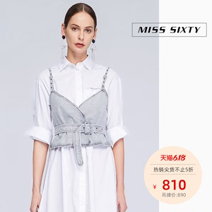 Miss Sixty2020春季新款純棉修身短款百搭牛仔吊帶上衣女