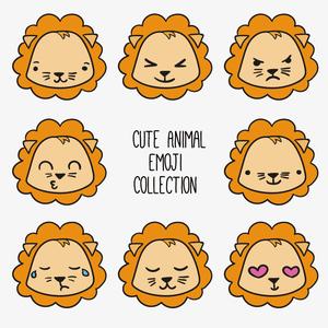 卡通可爱q版扁平化手绘狮子表情头像儿童贴纸插画ai矢量素材图片