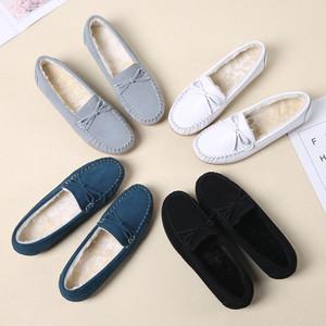 秋冬季豆豆鞋女真皮加絨護士鞋平跟休閑毛毛鞋保暖媽媽鞋平底棉鞋