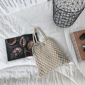 大包包女2018款韩国手工棉绳编织镂空手提单肩包百搭购物袋沙滩包