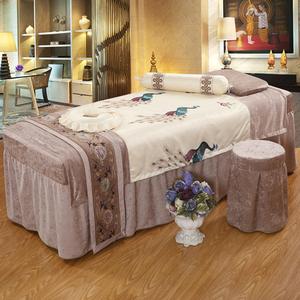 高档美容床罩四件套全棉雪尼尔美容院专用按摩养生SAP 可定做床套