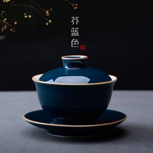 盖碗茶杯 茶具白瓷大号耐热手抓三才碗 泡茶碗功夫荼具陶瓷敬茶碗