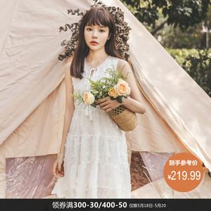 很仙的法式连衣裙夏装2019新款女韩版?#21672;?#32483;花慵懒风chic温柔裙子