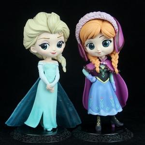 Q版冰雪奇缘2艾莎女王安娜公主人偶手办模型底座蛋糕摆件女孩玩具