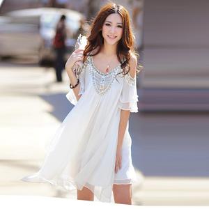 韩国女装夏季海边度假吊带短裙雪纺钉珠名媛气质露肩显瘦连衣裙仙