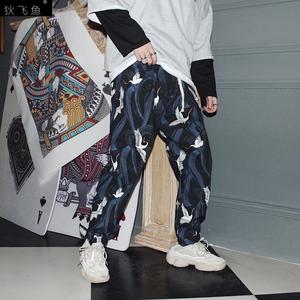 仙鶴束腳褲滿印搭配西服的褲子特裝工服男英倫風格籃球抽繩喇叭褲