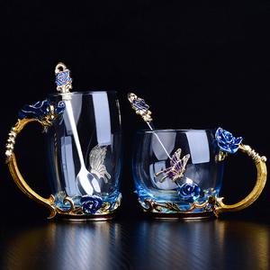 珐琅彩水杯耐热玻璃杯女花茶杯玫瑰花茶杯家用杯子套装大创意礼物